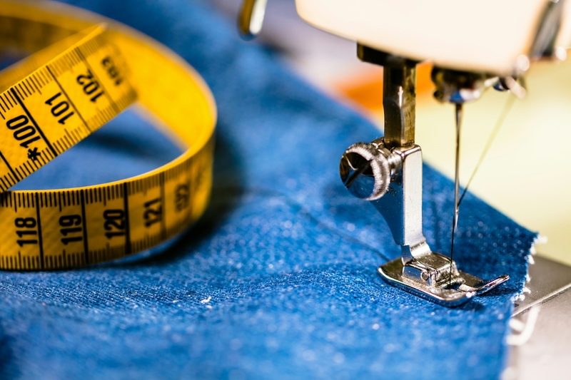 Sewing denim jeans with sewing machine